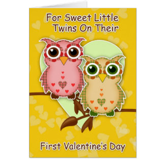 Twins First Valentine's Day Little Patchwork Owls Card