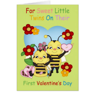 Twins First Valentine's Day With Little Bees Greeting Card