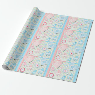 Twins Girl And Boy Baby Shower Wrapping Paper