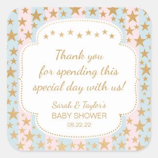 Twins Gold Stars Baby Shower favor sticker