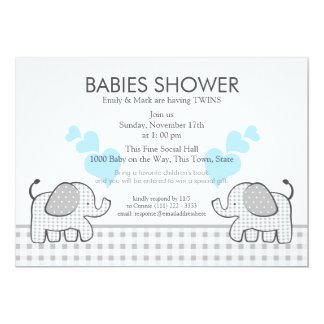 Twins Gray Gingham Blue Baby Shower 13 Cm X 18 Cm Invitation Card