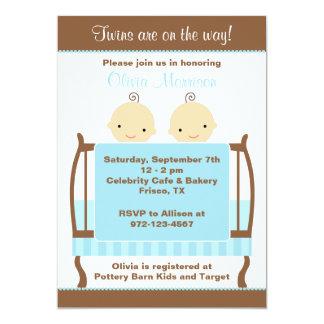 Twins in Blue Crib Invitations