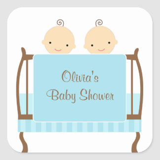 Twins in Blue Crib Stickers