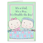 Twins in Crib, Girl and Boy Baby Card
