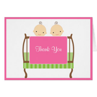 Twins in Pink Crib Note Cards