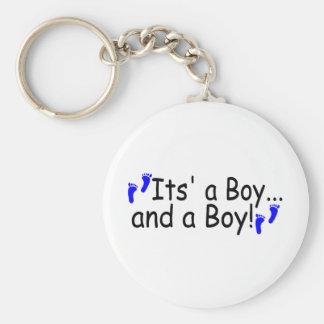 Twins Its a Boy and a Boy Basic Round Button Key Ring