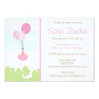 "Twins Monogram Balloon Baby Shower Invitation 5"" X 7"" Invitation Card"