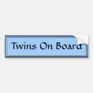 Twins On Board Blue Bumper Sticker by Heard_