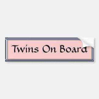 Twins On Board Pink Bumper Sticker by Heard_