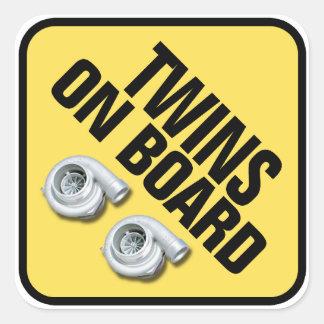 Twins on Board - Twin Turbo Square Sticker