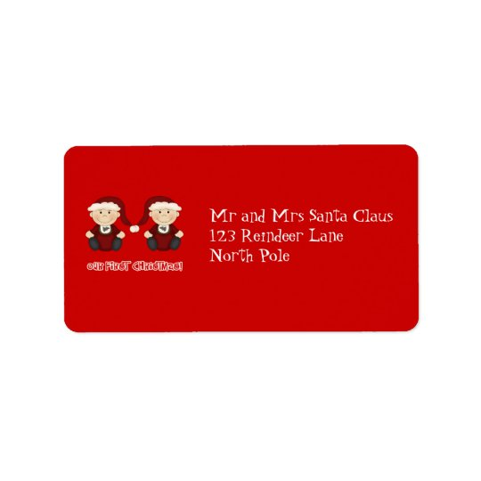 Twins:  Our First Christmas Customisable Address Label