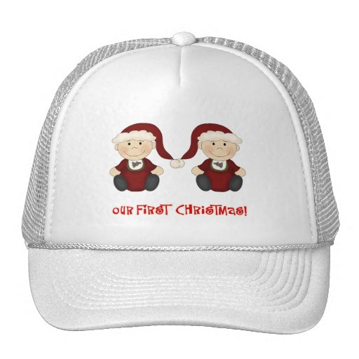 Twins:  Our First Christmas Customizable Trucker Hat