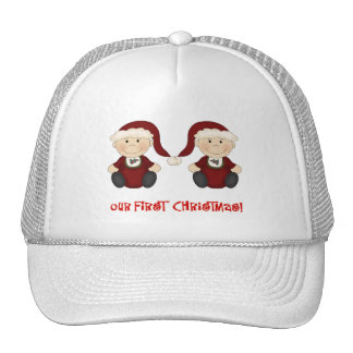 Twins Our First Christmas Customizable Trucker Hat