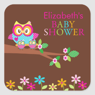 Twins Owl Thank You Baby Shower  Square Sticker