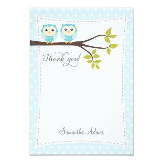Twins Owls Thank You Card (Blue) 9 Cm X 13 Cm Invitation Card