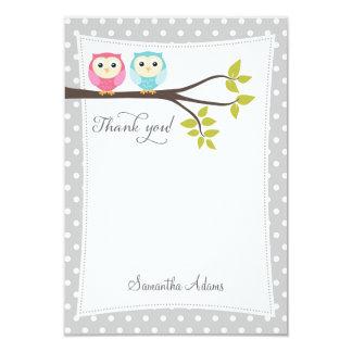 Twins Owls Thank You Card (Gray) 9 Cm X 13 Cm Invitation Card