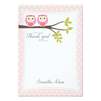 "Twins Owls Thank You Card (Pink) 3.5"" X 5"" Invitation Card"
