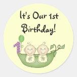Twins Peas in a Pod  First Birthday Round Sticker