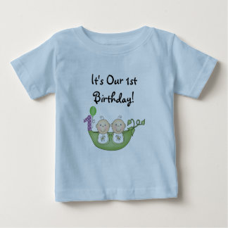 Twins Peas in a Pod  First Birthday Tee Shirts