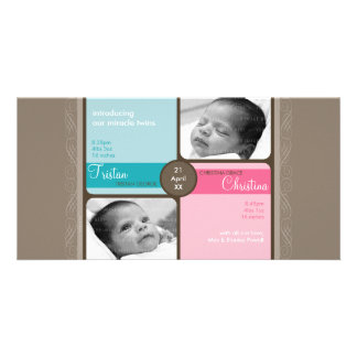 TWINS PHOTO BIRTH ANNOUNCEMENT :: cherished 1L Card