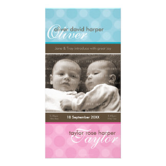 TWINS PHOTO BIRTH ANNOUNCEMENT :: harmony 1P Customised Photo Card