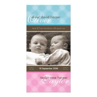 TWINS PHOTO BIRTH ANNOUNCEMENT :: harmony 1P Custom Photo Card
