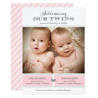 Twins Photo Birth Announcement | Two Baby Girls