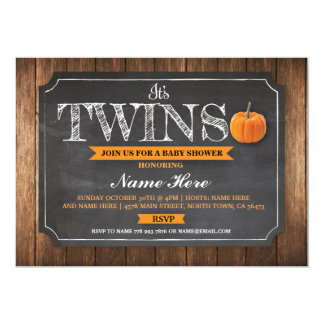 Twins Pumpkin Fall Baby Shower Invitations