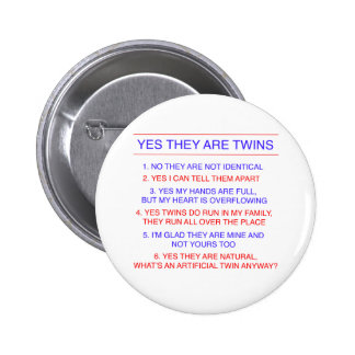 Twins Questions Fraternal 6 Cm Round Badge