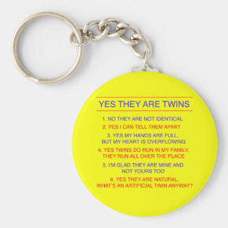 Twins Questions Fraternal Yellow Basic Round Button Key Ring
