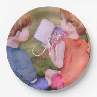TWINS READING A BOOK MONOGRAM PARTY PAPER PLATE