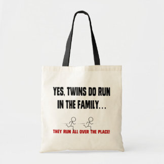 TWINS RUN IN THE FAMILY TOTE BAG