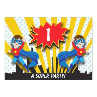 Twins Superhero Birthday  |  Boys Brown Hair 13 Cm X 18 Cm Invitation Card