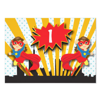Twins Superhero Birthday | Brown Hair Girls Card 13 Cm X 18 Cm Invitation Card