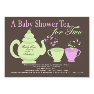 Twins Tea Party Baby Shower 13 Cm X 18 Cm Invitation Card