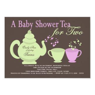 Twins Tea Party Baby Shower 13 Cm X 18 Cm Invitation Card
