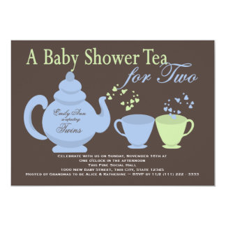 Twins Tea Party Blue Green Baby Shower Card