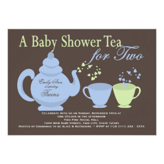 Twins Tea Party Blue Green Baby Shower Invite