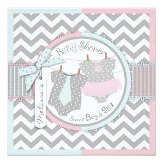 Twins Tie Tutu Chevron Baby Shower 5.25x5.25 Square Paper Invitation Card