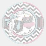 Twins Tie Tutu Chevron Baby Shower Round Stickers
