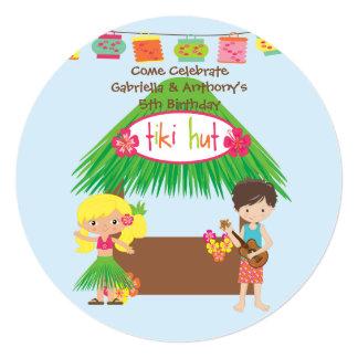 Twins Tiki Hut Round Luau Birthday Invitation