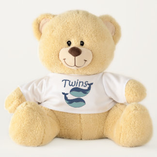 TWINS!  Two Blue Whales Teddy Bear