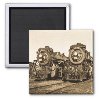Twins Vintage Locomotive Train Engines Square Magnet