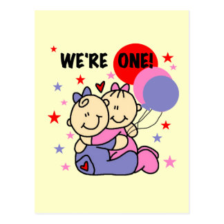 Twins We re One Birthday Tshirts and Gifts Post Cards