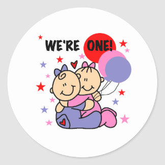 Twins We're One Birthday Classic Round Sticker