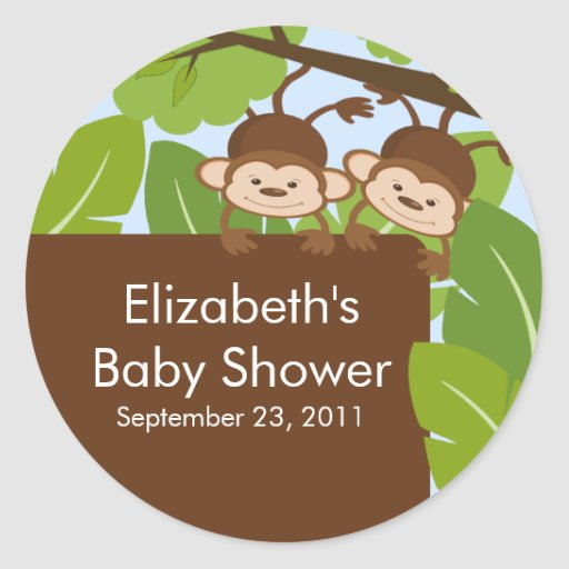 TwinsBaby Monkey Jungle Safari Baby Shower Sticker