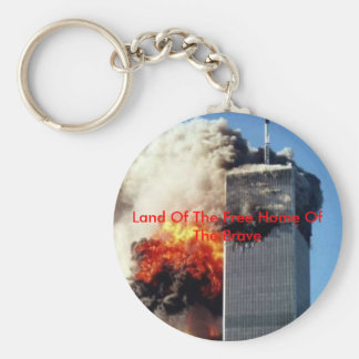 twintower, Land Of The Free Home Of The Brave Basic Round Button Key Ring