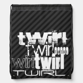 Twirl; Black & Dark Gray Stripes Drawstring Bag