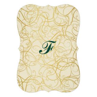 twirl,gold,abstract,wavy,trendy,golden,fun,happy,m 13 cm x 18 cm invitation card