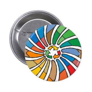 Twirled Recycle 6 Cm Round Badge